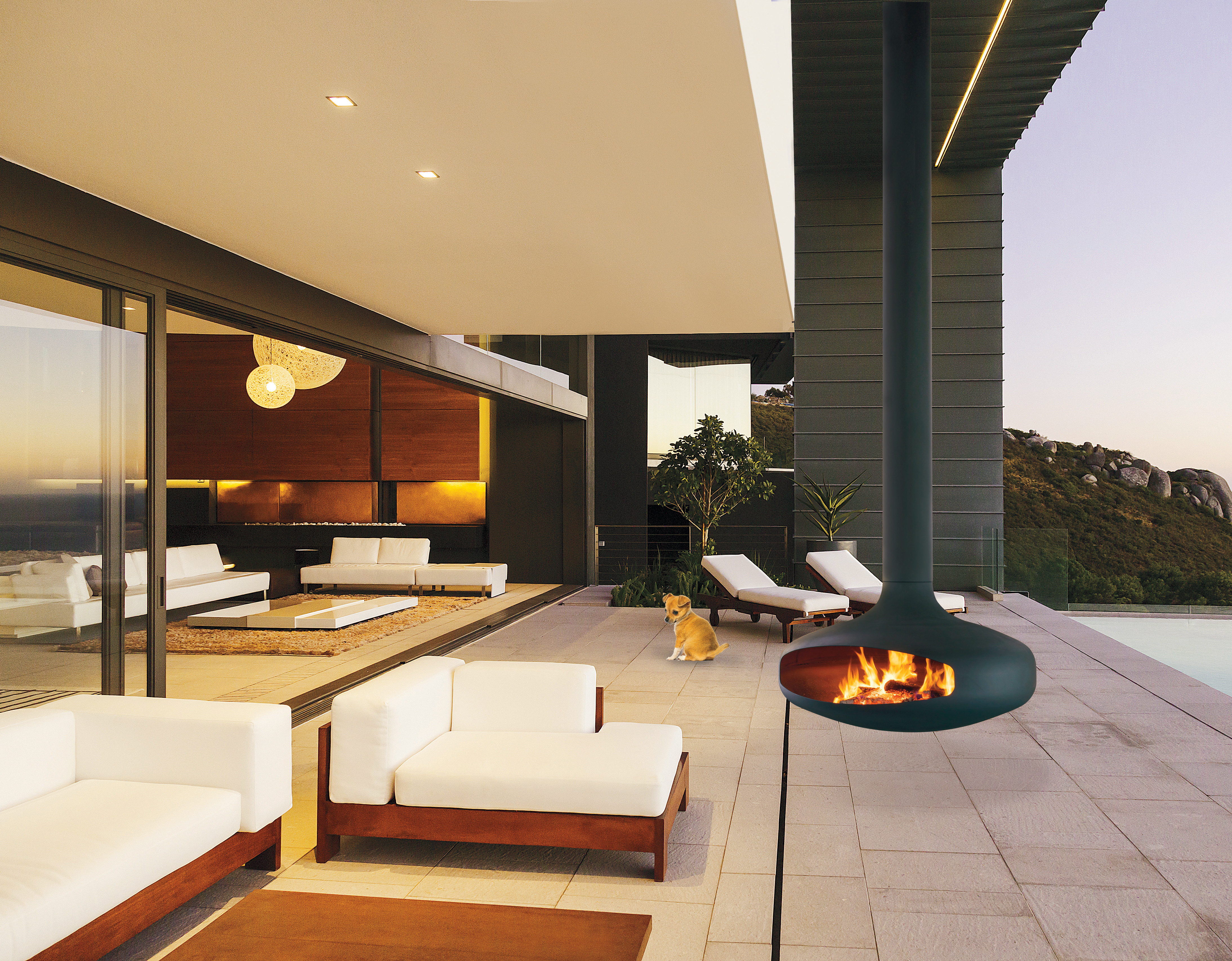 outdoor fireplace with a suspended and pivoting hearth Domofcus