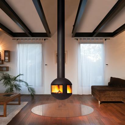 cheminée design centrale au foyer vitré AGORAFOCUS 630